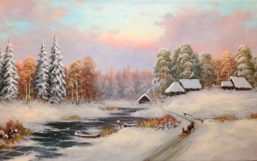 """Painting titled """"Village on the rive…"""" by Nikolay Lyamin, Original Art, Oil"""