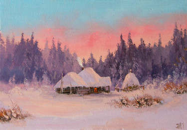 """Painting titled """"Farm in the rays of…"""" by Nikolay Lyamin, Original Art, Oil"""