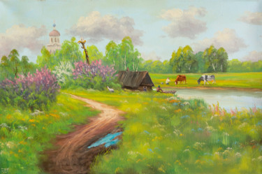 """Painting titled """"Summer day in the v…"""" by Nikolay Lyamin, Original Art, Oil"""