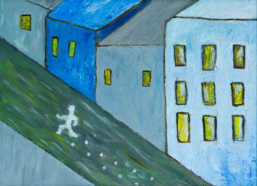 """Painting titled """"Running from …"""" by Ninel Fedenko, Original Art, Oil Mounted on Stretcher frame"""