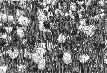 """Drawing titled """"TULIP FEVER II Ink…"""" by Nives Palmić, Original Art, Ink"""