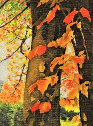 """Drawing titled """"AUTUMN FAIRY III"""" by Nives Palmić, Original Art, Pastel"""