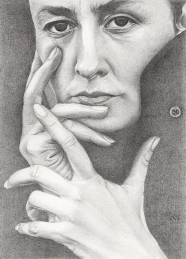 """Drawing titled """"GEORGIA O'KEEFFE Gr…"""" by Nives Palmić, Original Art, Graphite"""