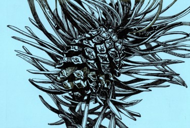 """Drawing titled """"PINE CONE III"""" by Nives Palmić, Original Art, Ink"""