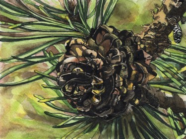 """Painting titled """"PINE CONE IV"""" by Nives Palmić, Original Art, Ink"""