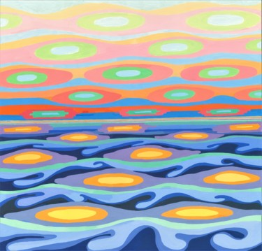 """Painting titled """"SEA AND SKY I"""" by Nives Palmić, Original Art, Gouache"""