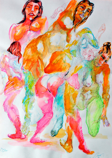 Painting, watercolor, expressionism, artwork by Nizaac Vallejo