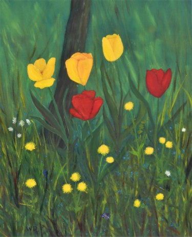 """Painting titled """"Tulips"""" by W-Dagrou, Original Art, Oil"""