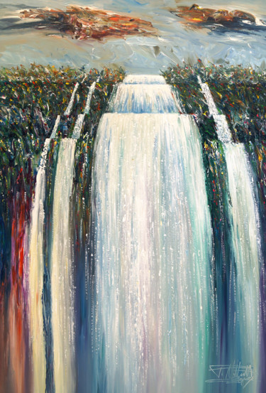"""Painting titled """"Mystery Waterfall X…"""" by Peter Nottrott, Original Art, Acrylic"""