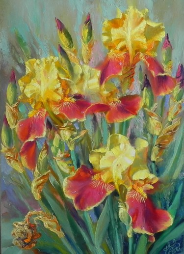 Flower Painting, oil, impressionism, artwork by Novikovartfamily
