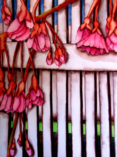 """Painting titled """"Weeping Cherry"""" by Nancy Riedell, Original Art, Watercolor"""