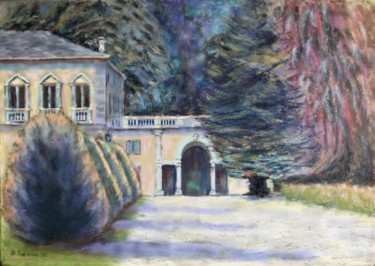 """Painting titled """"Villa Olmo park"""" by Davide Rodoquino, Original Art, Oil Mounted on Stretcher frame"""