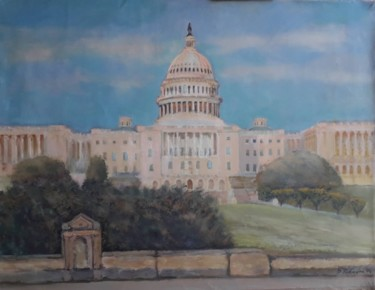 """Painting titled """"Capitol Hill late a…"""" by Davide Rodoquino, Original Art, Oil"""