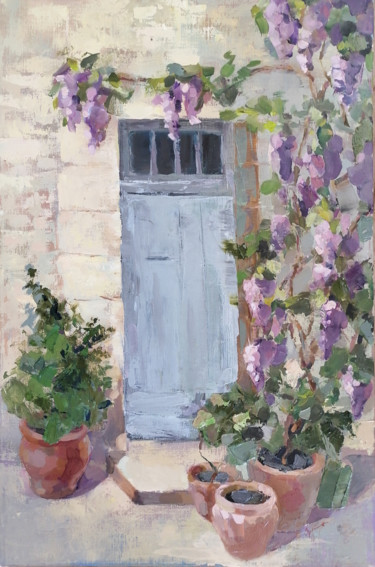 """Painting titled """"Wisteria in Bloom"""" by Zubenko Natalia, Original Art, Oil Mounted on Stretcher frame"""