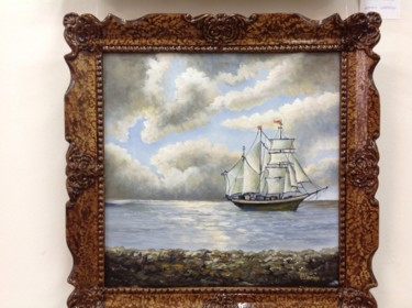 """Painting titled """"Ship and sea view."""" by Octav Vornicu, Original Art, Oil"""