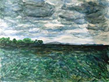 """Painting titled """"Cloudy sea-view ove…"""" by Mikala Lykke, Original Art, Oil"""