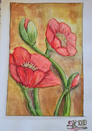 """Painting titled """"Red Flowers"""" by Diana Hermes, Original Art, Watercolor"""