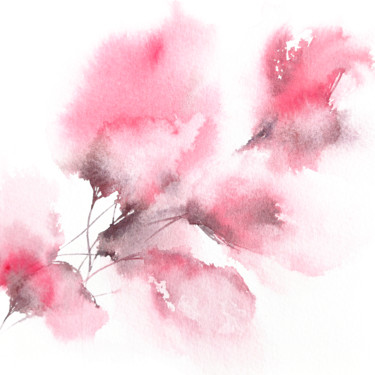 """Painting titled """"Small pink flower w…"""" by Olga Grigorevykh, Original Art, Watercolor"""