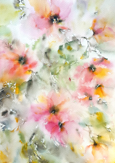 """Painting titled """"Abstract pink water…"""" by Olga Grigorevykh, Original Art, Watercolor"""