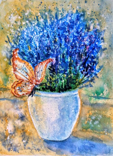 """Painting titled """"Lavender and butter…"""" by Oksana Zolotova, Original Art, Watercolor"""