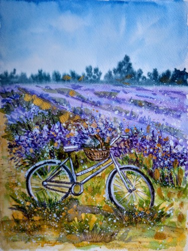 """Painting titled """"Bicycle with lavend…"""" by Oksana Zolotova, Original Art, Watercolor"""