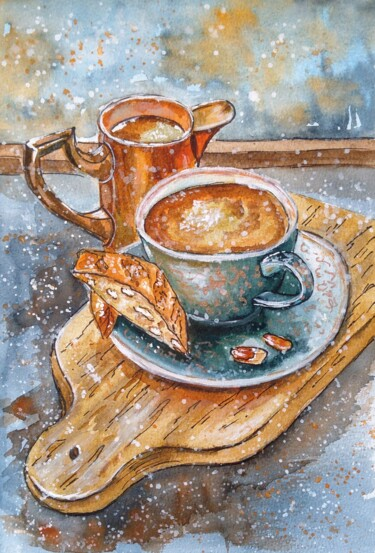 """Painting titled """"Coffee with cookies"""" by Oksana Zolotova, Original Art, Watercolor"""