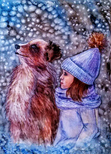 """Painting titled """"A girl and a puppy"""" by Oksana Zolotova, Original Art, Watercolor"""