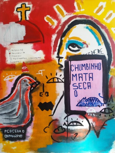 Painting, acrylic, outsider art, artwork by Guilherme Moreira