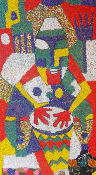 """Painting titled """"Bead Drummer"""" by Olaoluwa Smith, Original Art, Other"""