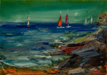 """Painting titled """"Seascape. Sailboats"""" by Oleg Sharapanovsky, Original Art, Oil Mounted on Stretcher frame"""