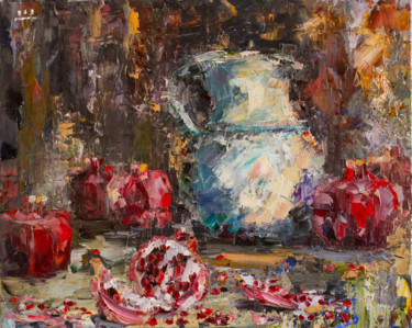 """Painting titled """"Still life with pom…"""" by Oleg Sharapanovsky, Original Art, Oil Mounted on Stretcher frame"""