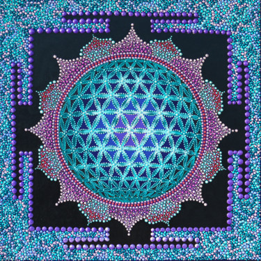 """Painting titled """"3D Flower Of life S…"""" by Olesea Arts, Original Art, Acrylic"""