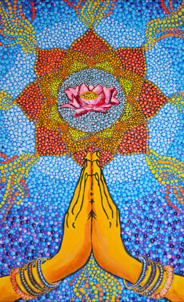 """Painting titled """"Namaste Hands and L…"""" by Olesea Arts, Original Art, Acrylic"""