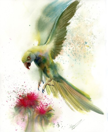 """Painting titled """"Parrots and flower"""" by Paintispassion, Original Art, Watercolor"""