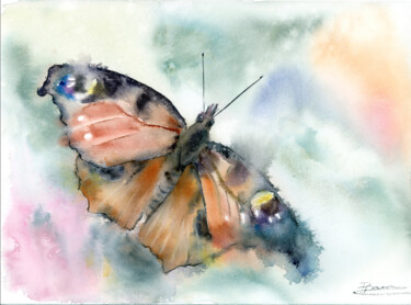 """Painting titled """"Peacock Butterfly"""" by Paintispassion, Original Art, Watercolor"""
