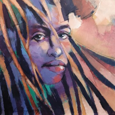"""Painting titled """"Dreads"""" by Olga David, Original Art, Acrylic Mounted on Stretcher frame"""
