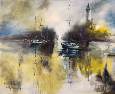 """Painting titled """"Yachts in yellow du…"""" by Olga Soldatova, Original Art, Oil Mounted on Stretcher frame"""