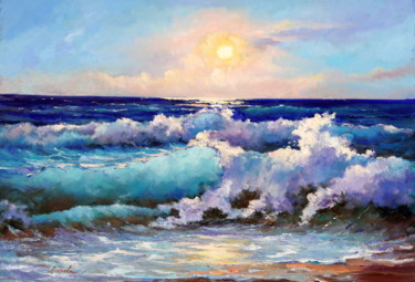 """Painting titled """"Lace of the Sea"""" by Olga Egorov, Original Art, Oil Mounted on Stretcher frame"""
