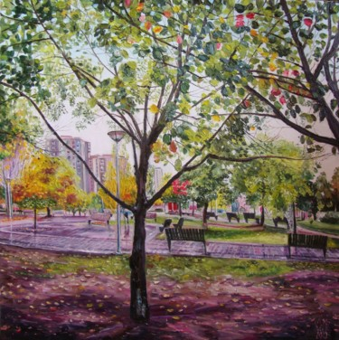 """Painting titled """"Autumn in my neighb…"""" by Olga Knezevic, Original Art, Oil"""