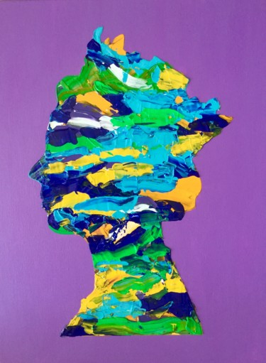 """Painting titled """"QUEEN #45 ON PURPLE…"""" by Olga Koval, Original Art, Acrylic Mounted on Stretcher frame"""