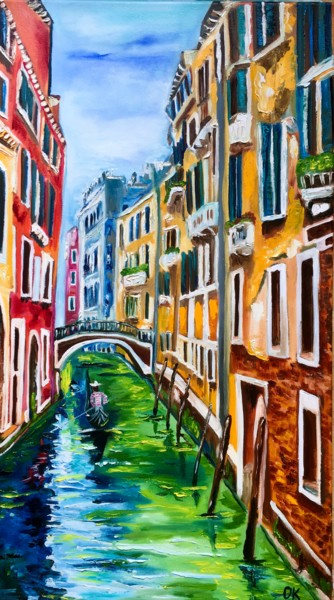 """Painting titled """"Venice, spring time…"""" by Olga Koval, Original Art, Oil Mounted on Stretcher frame"""