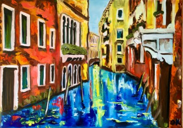 """Painting titled """"Summer in Venice, c…"""" by Olga Koval, Original Art, Oil Mounted on Stretcher frame"""