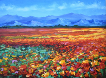 """Painting titled """"Meadow Painting. Na…"""" by Olga Nikitina, Original Art, Oil Mounted on Stretcher frame"""