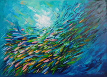 """Painting titled """"School of Fish"""" by Olga Nikitina, Original Art, Oil Mounted on Stretcher frame"""
