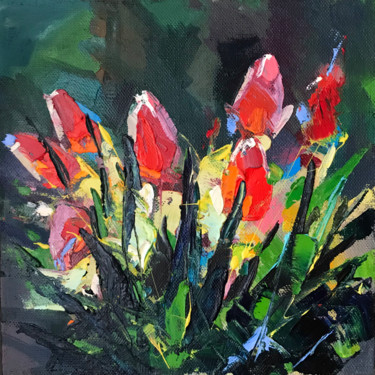 """Painting titled """"tulips"""" by Olga Pavlovets, Original Art, Oil Mounted on Stretcher frame"""