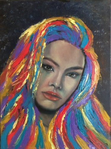 """Painting titled """"Moon woman"""" by Olha Alippa, Original Art, Oil"""