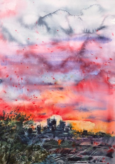 """Painting titled """"Sunset Over The Town"""" by Helga Sherr, Original Art, Watercolor"""