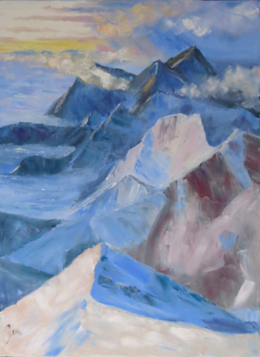 """Painting titled """"Abstract mountain l…"""" by Olga Yashchenko, Original Art, Oil Mounted on Stretcher frame"""