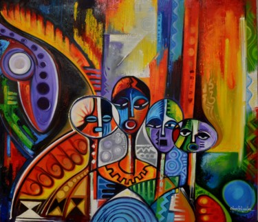 """Painting titled """"Tribe Of Conscience"""" by olumide-egunlae, Original Art, Oil"""