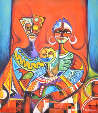 """Painting titled """"Papa, Mama and Me"""" by olumide-egunlae, Original Art, Oil"""